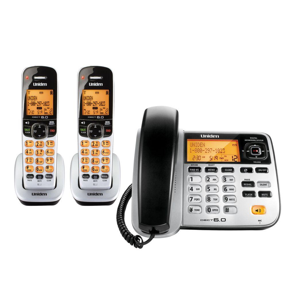 Uniden DECT 6.0 Corded and Cordless Phone with 2 Handsets and Digital Answering System-DISCONTINUED
