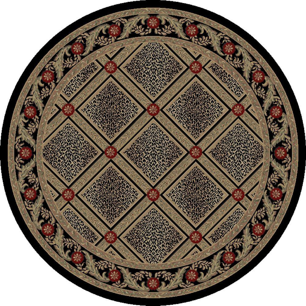 Imperial Diamond Leopard Black 5 ft. 3 in. Round Area Rug