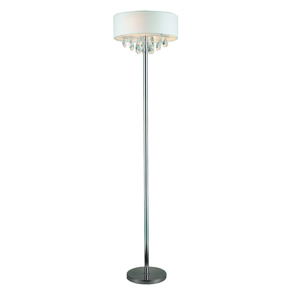 Romazzino Crystal Collection 61.5 in. Chrome Floor Lamp with White Ruched