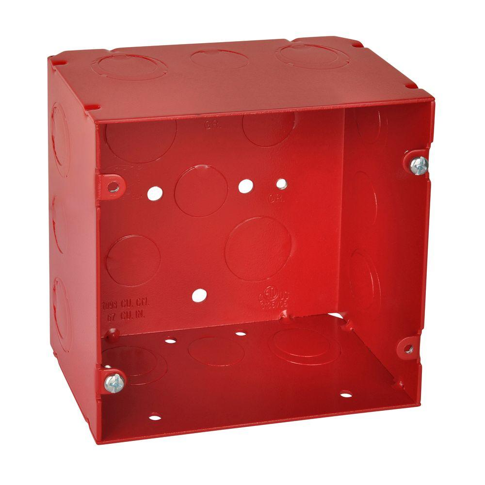 5 in. Red Steel Square Box with CV Bracket (20 per