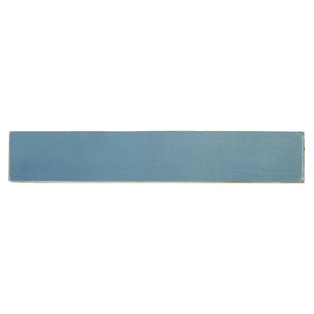 Hand-Painted Cancun Light Blue 1 in. x 6 in. Ceramic Pencil