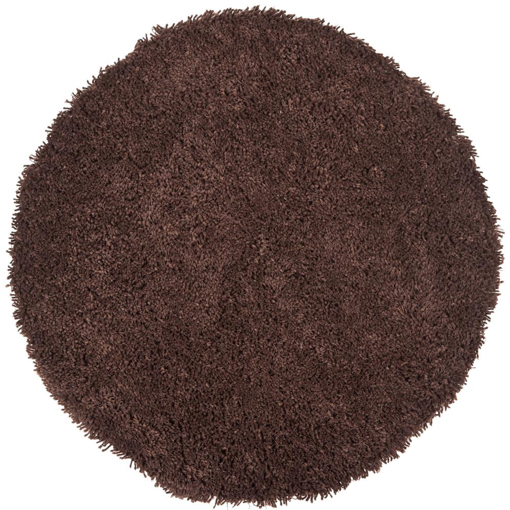 Classic Shag Ultra Chocolate 6 ft. x 6 ft. Round Area
