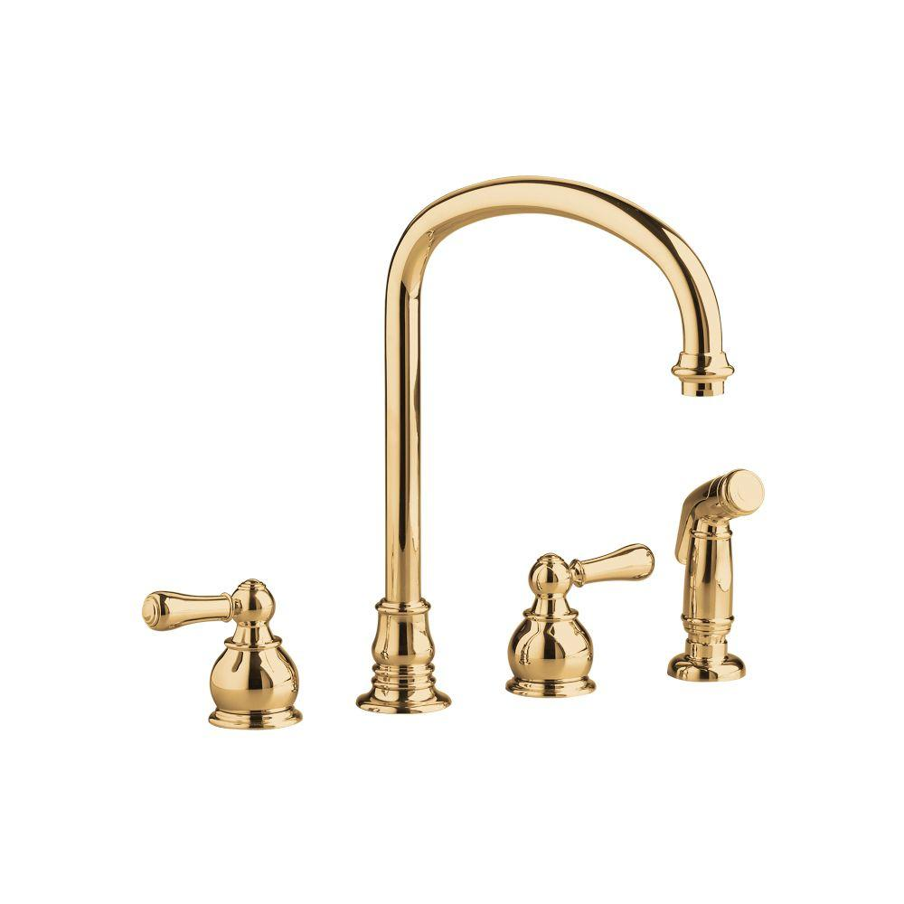 American Standard Hampton 2-Handle Kitchen Faucet in Polished Brass