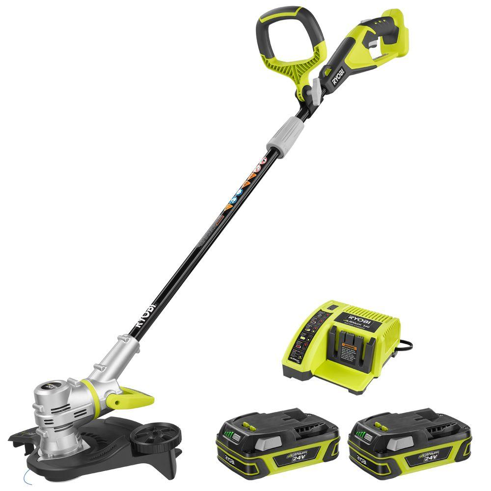 Ryobi Lawn Equipment 24-Volt Lithium-Ion Cordless String Trimmer with 2 Compact Batteries RY24211A