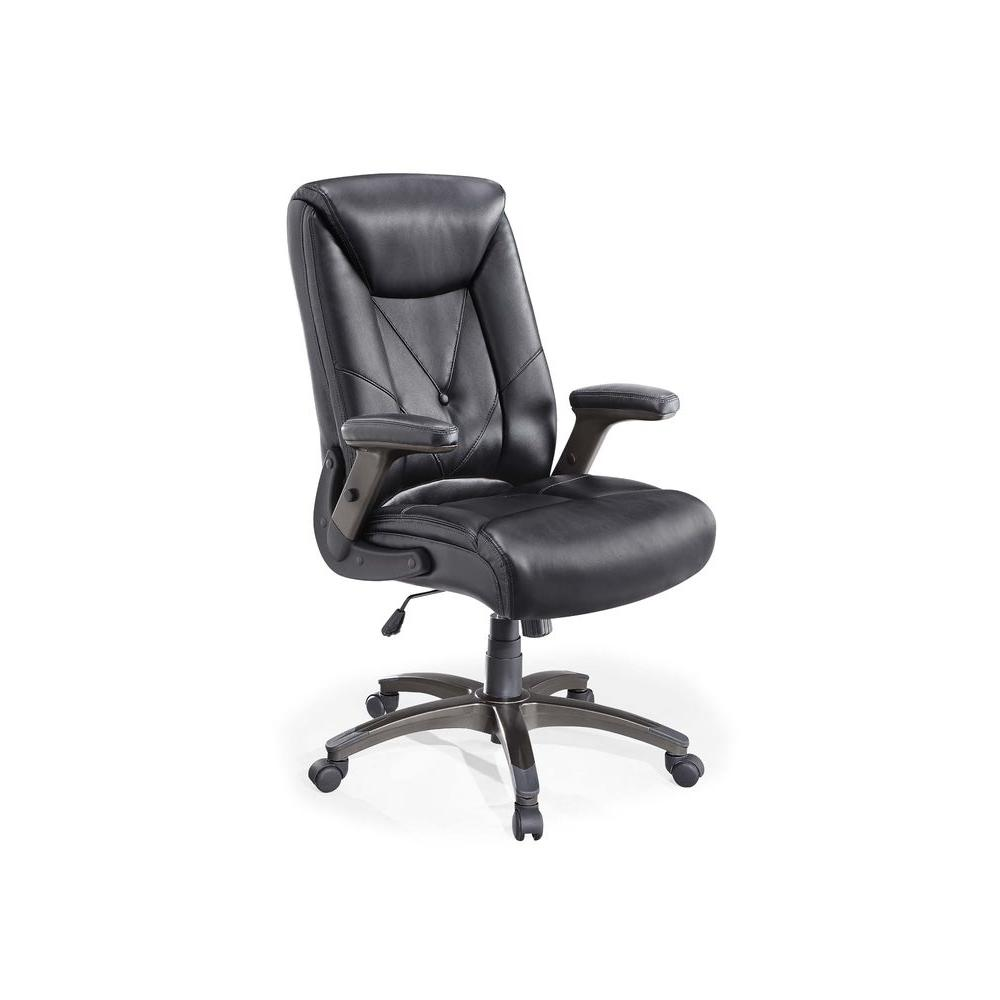 Whalen Chelsen Leather Managers Chair in Black-WC-667 - The Home Depot