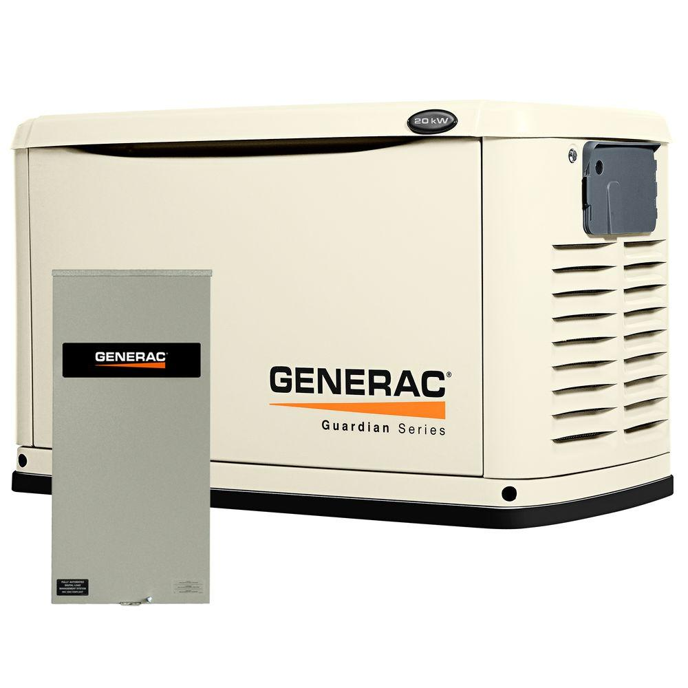 20,000-Watt Air Cooled Automatic Standby Generator with 200 Amp SE Rated Transfer Switch