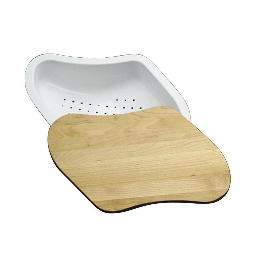 KOHLER 2-Piece Hardwood Cutting Board with Colander