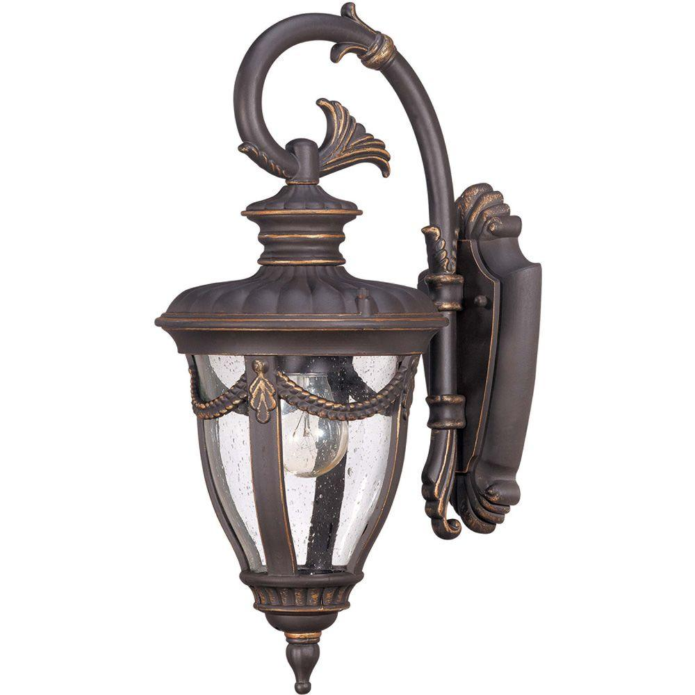 Glomar 1 light outdoor belgium bronze small wall lantern for Small landscape lights