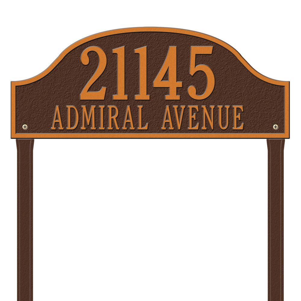Whitehall Products Admiral Estate Arch Antique Copper Lawn Two Line Address