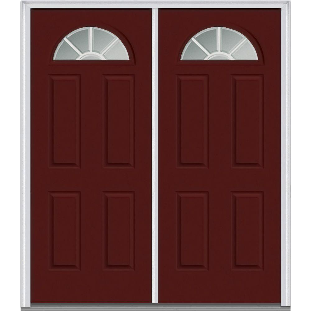 Milliken Millwork 74 in. x 81.75 in. Classic Clear Glass GBG 1/4 Lite 4 Panel Painted Majestic Steel Exterior Double Door, Red