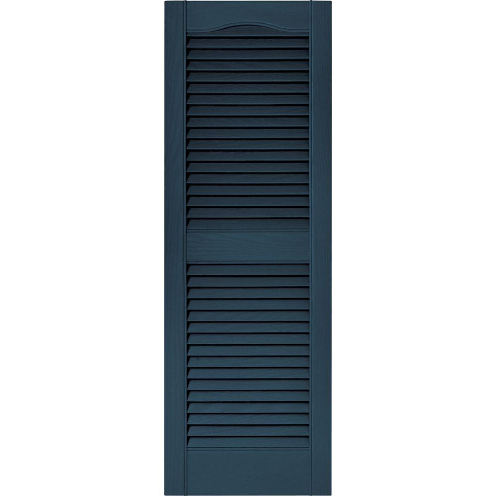 Builders Edge 15 in. x 43 in. Louvered Vinyl Exterior Shutters Pair in #036 Classic Blue