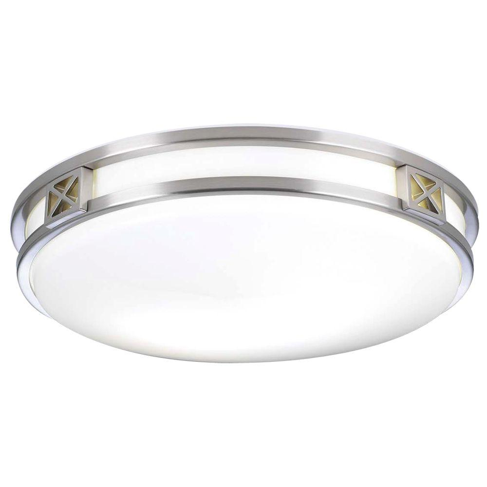 2-Light Ceiling Satin Nickel Flush Mount with Matte Opal Glass