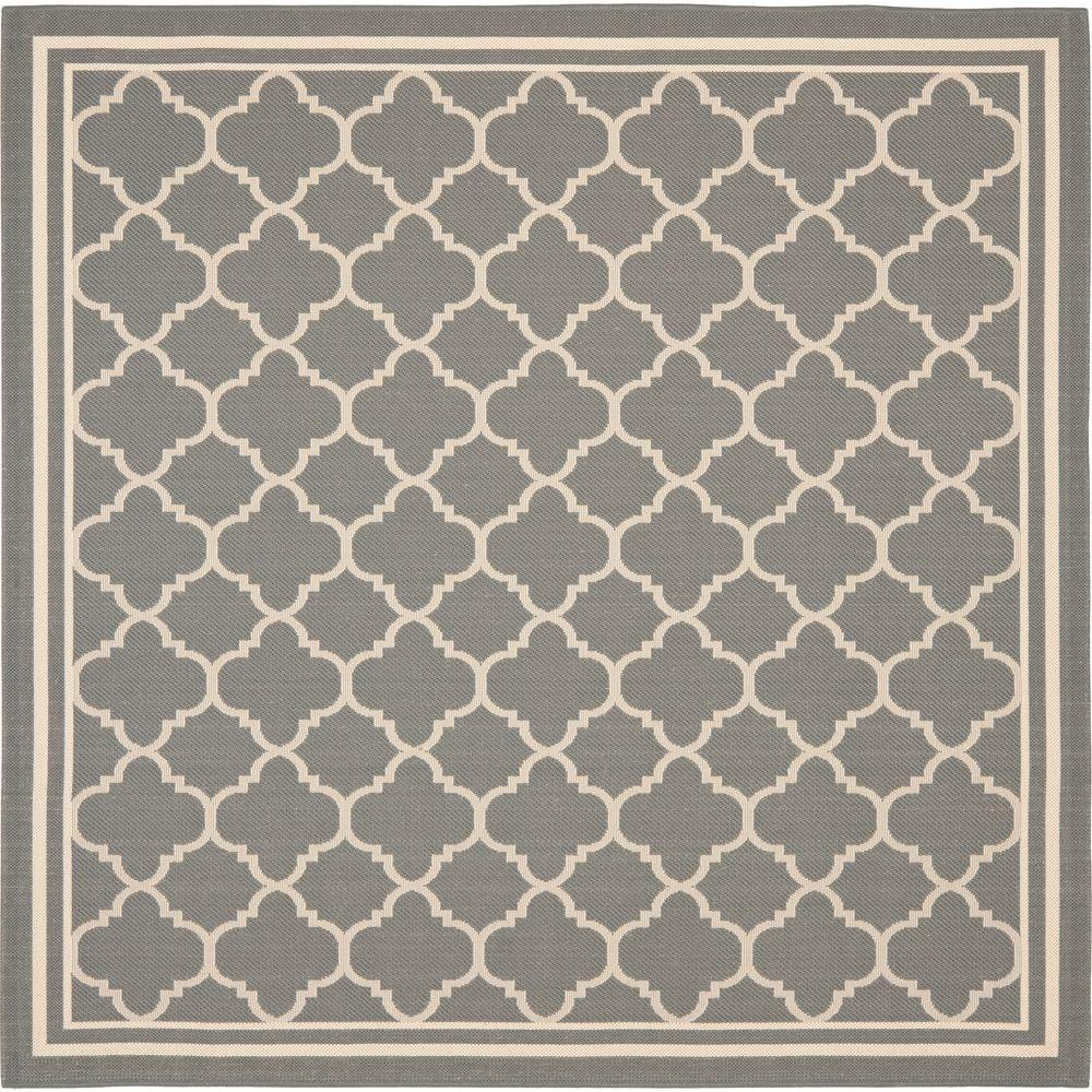 Safavieh Courtyard Anthracite/Beige 4 ft. x 4 ft. Indoor/Outdoor Square Area Rug
