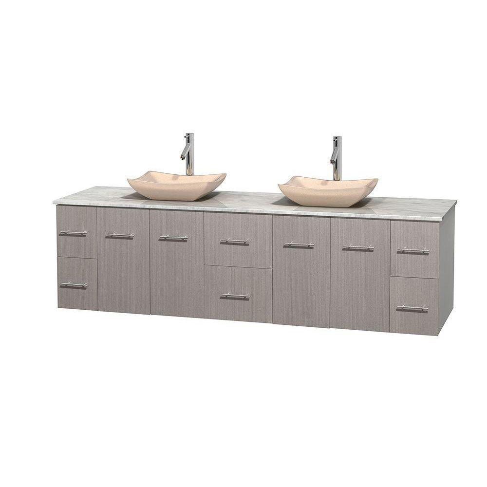 Wyndham Collection Centra 80 in. Double Vanity in Gray Oak with Marble Vanity Top in Carrara White and Sinks