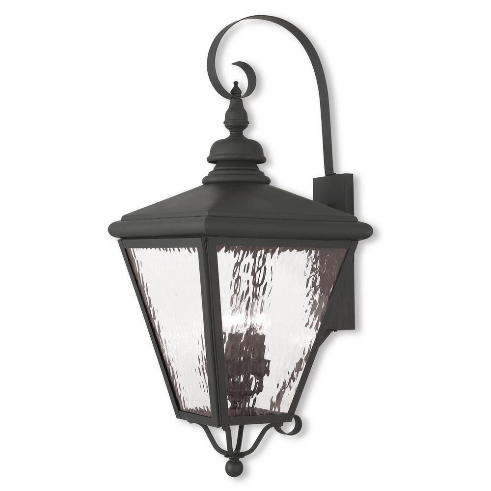 Cambridge 4-Light Black Outdoor Wall Mount Lantern