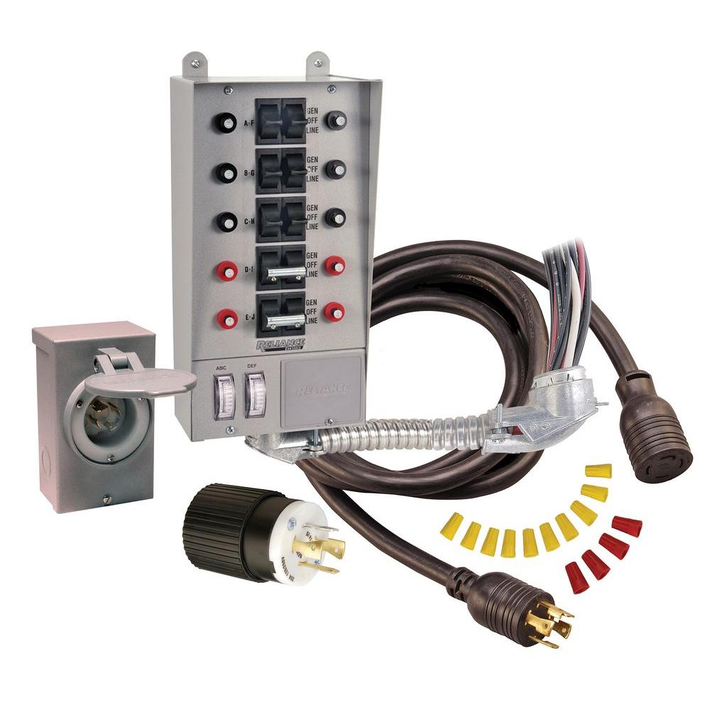 Reliance Controls 30 Amp 10 Circuit Manual Transfer Switch Kit