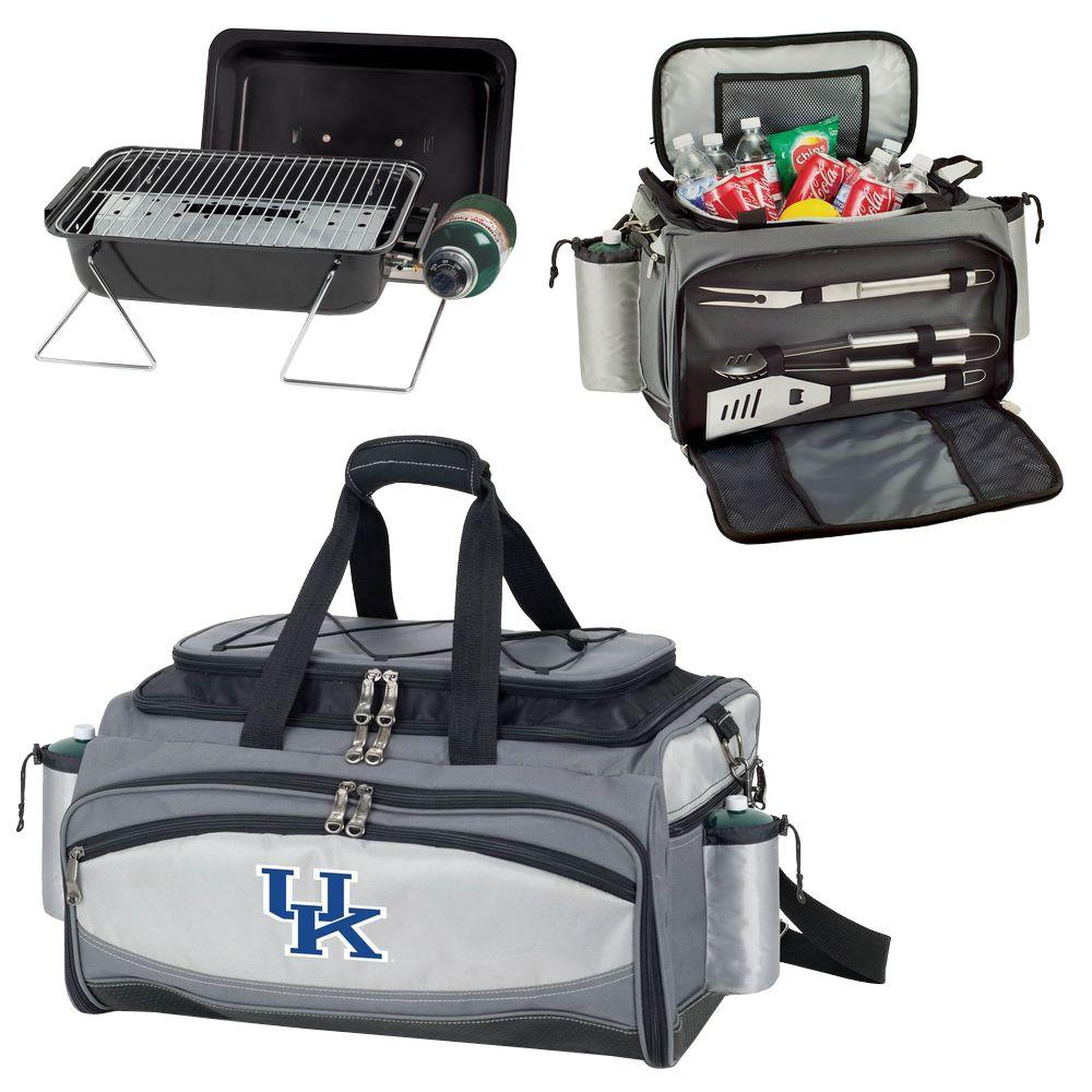 Picnic Time Kentucky Wildcats - Vulcan Portable Propane Grill and Cooler Tote by Embroidered, Black/Gray