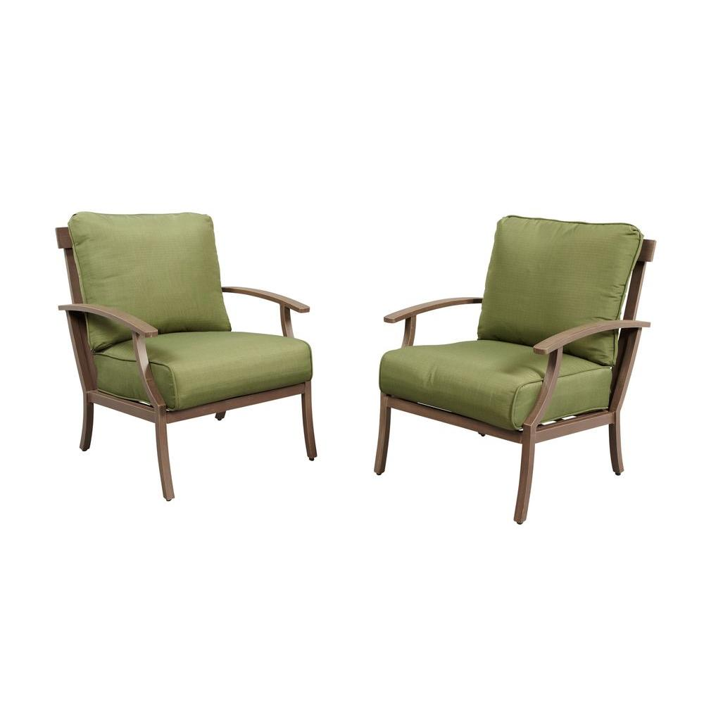 Hampton Bay Bloomfield Woven Patio Lounge Chair with Moss Cushion 2 Pack 15