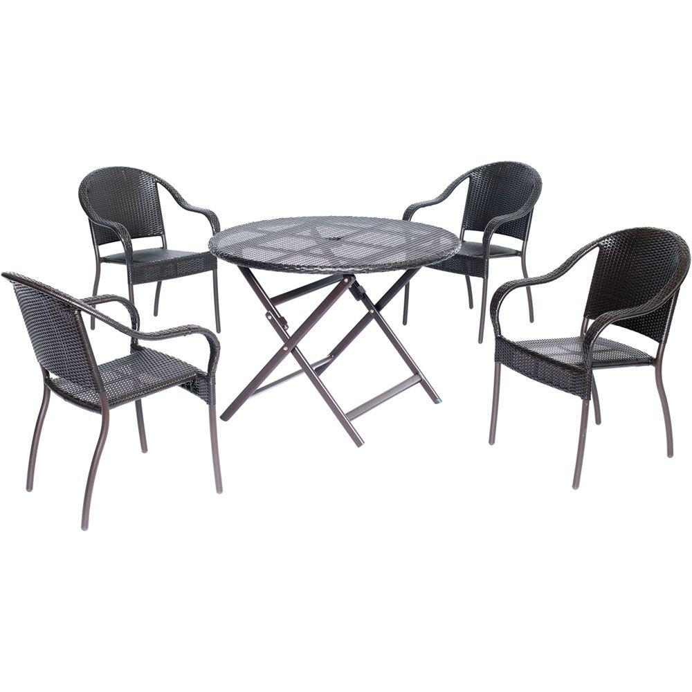 Hanover Orleans Brown 5-Piece All-Weather Wicker 40 in. Round Patio Dining