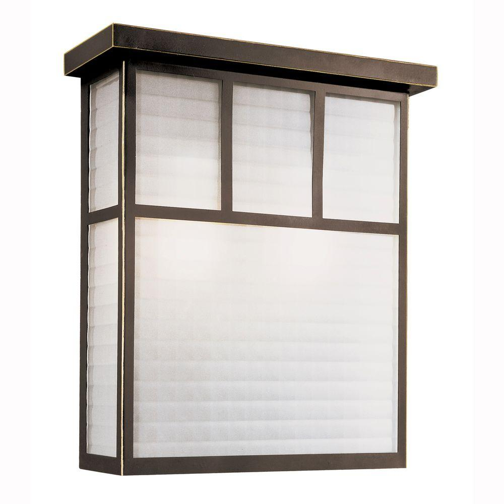 Garden Box 1-Light Outdoor Oiled Bronze Wall Lantern with Frosted Glass