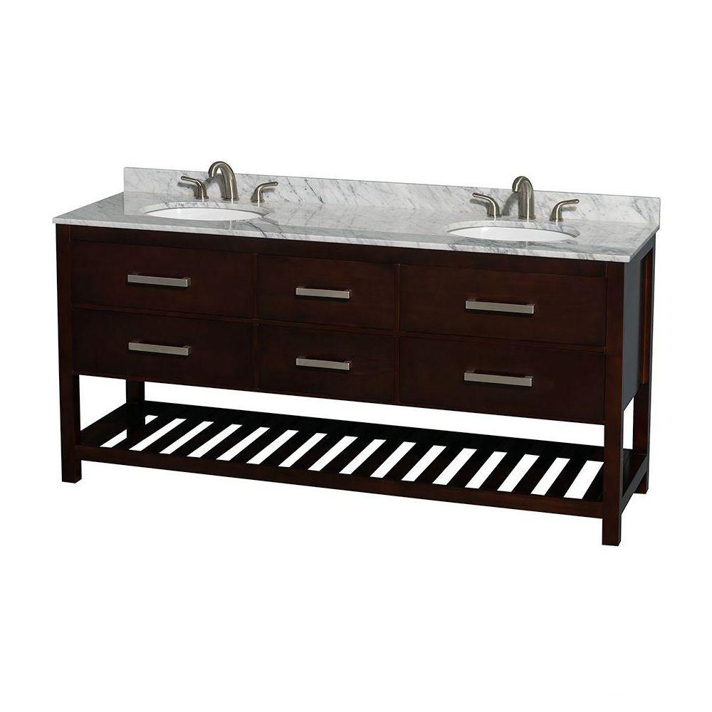 Wyndham Collection Natalie 72 in. Double Vanity in Espresso with Marble