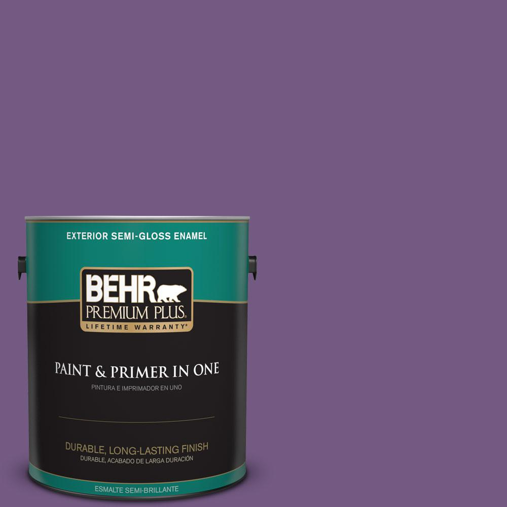 BEHR Premium Plus 1-gal. #650B-7 Mystical Purple Semi-Gloss Enamel Exterior Paint