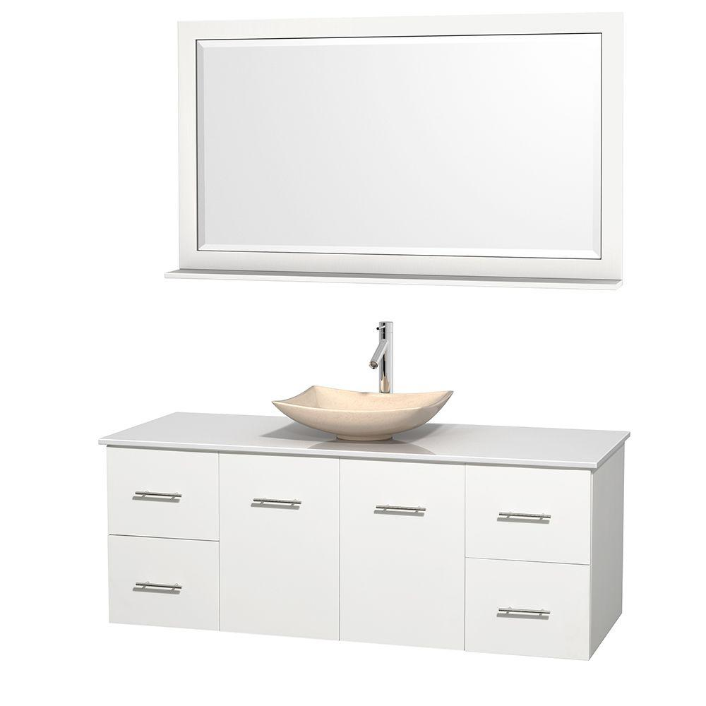 Wyndham Collection Centra 60 in. Vanity in White with Solid-Surface Vanity Top in White, Ivory Marble Sink and 58 in. Mirror