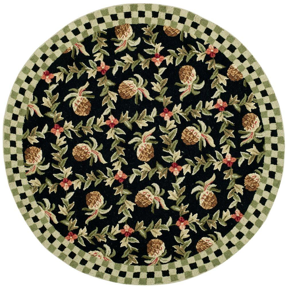 Safavieh Chelsea Black/Ivory 8 ft. Round Area Rug-HK164A-8R - The Home