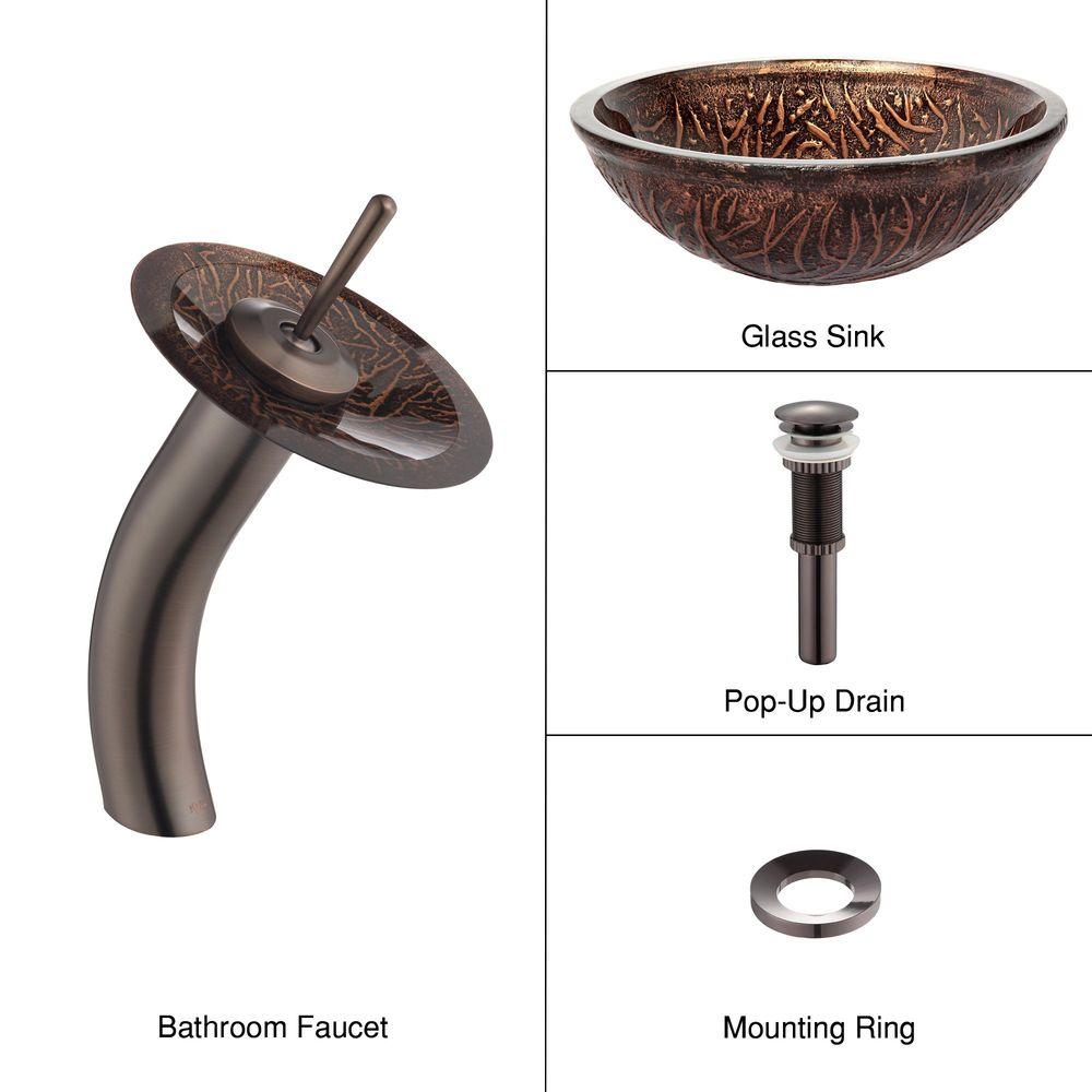 KRAUS Glass Bathroom Sink in Copper Forest with Single-Handle Low-Arc Waterfall Faucet in Oil Rubbed Bronze-DISCONTINUED