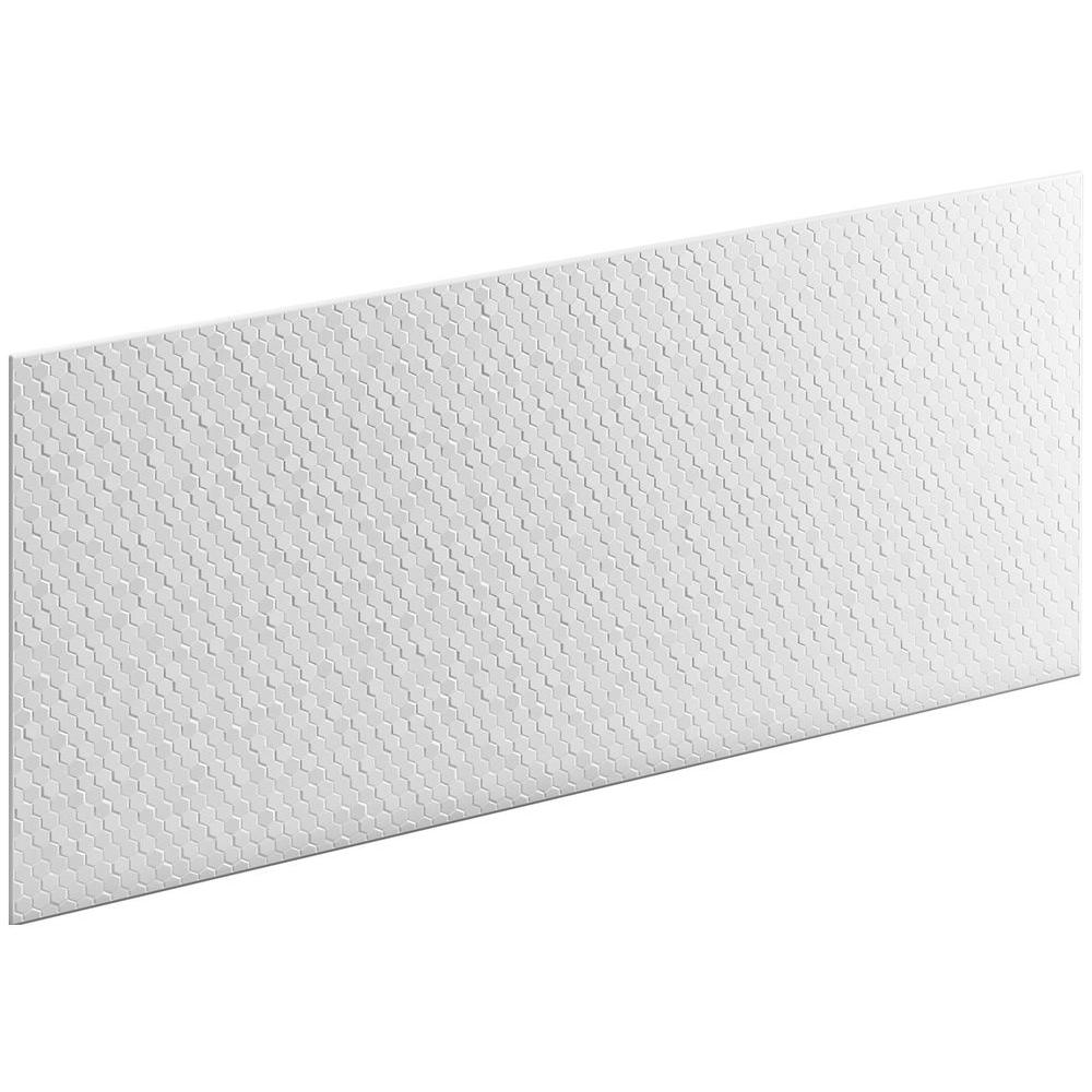 KOHLER Choreograph 0.3125 in. x 60 in. x 28 in. 1-Piece Shower Wall Panel in White with Hex Texture