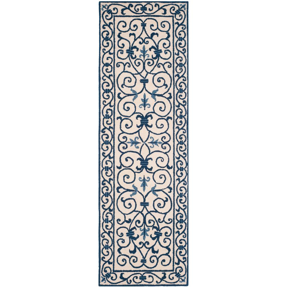 Chelsea Ivory/Dark Blue 2 ft. 6 in. x 8 ft. Runner