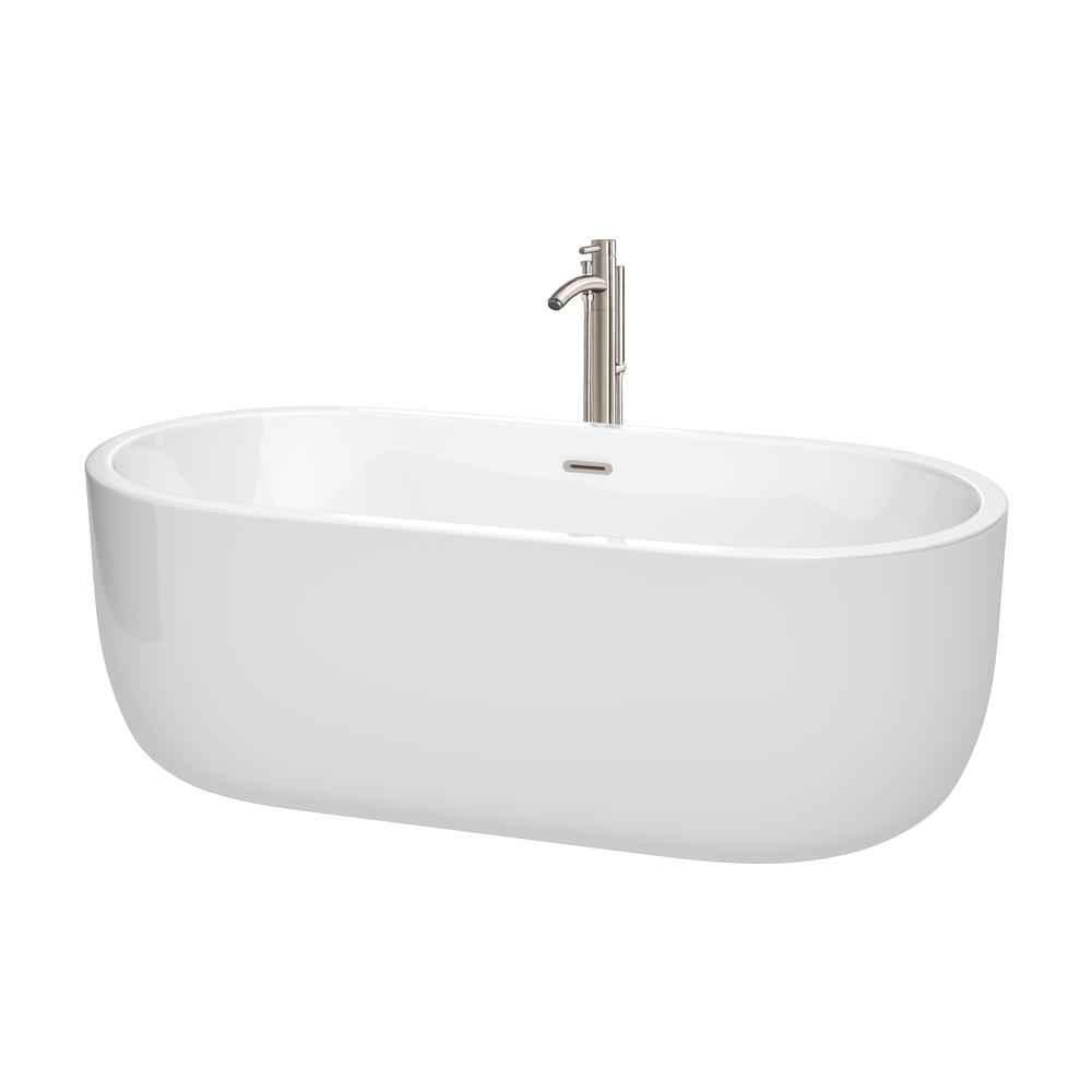 Wyndham Collection Juliette 5.6 ft. Acrylic Flatbottom Non-Whirlpool Bathtub in White with Brushed Nickel Trim and Faucet