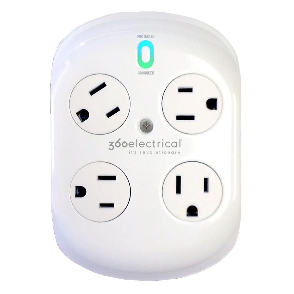 360 Electrical Revolve Surge Protector with 4 Rotating Outlets