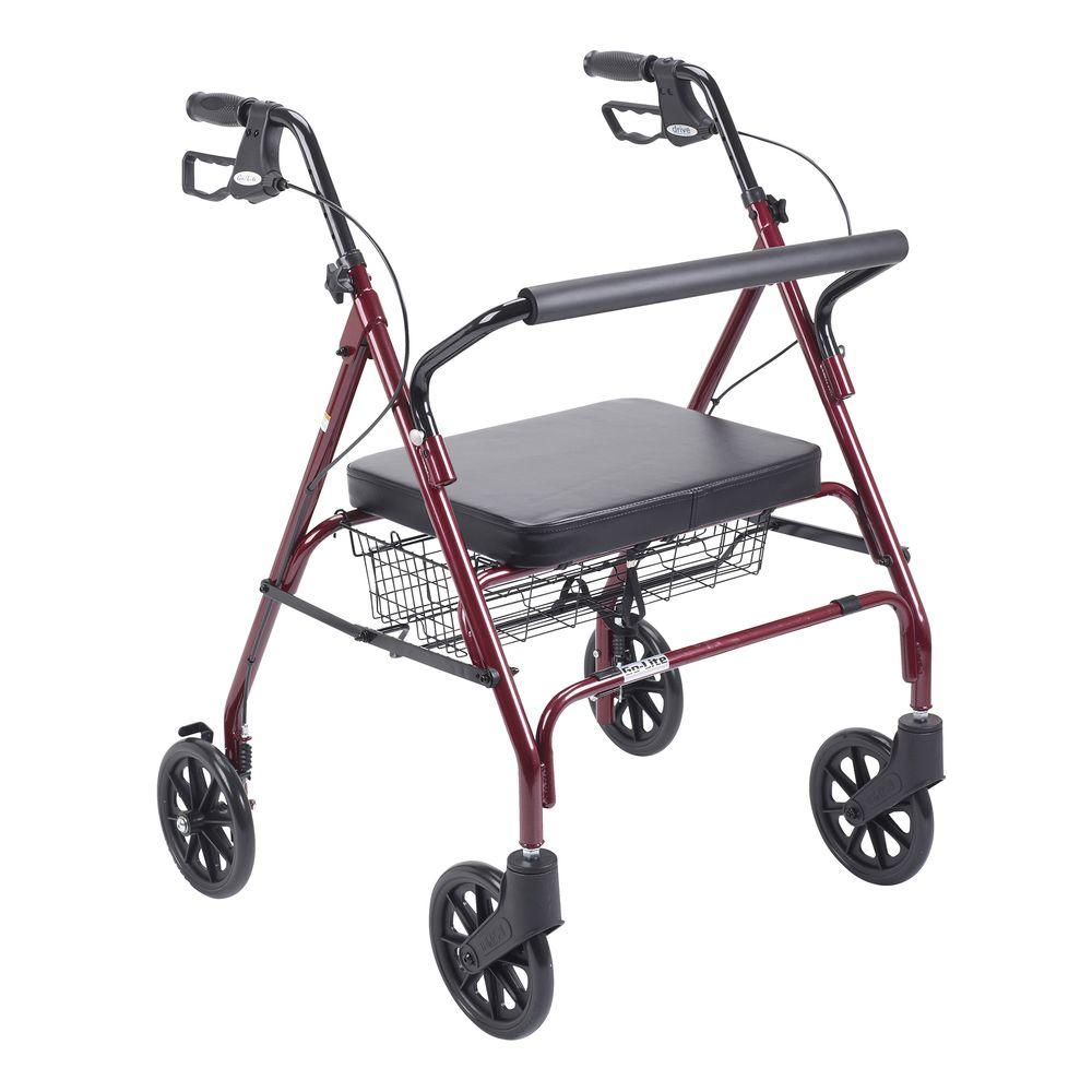 Drive Heavy Duty Bariatric Red 4-Wheel Rollator Walker with Large Padded