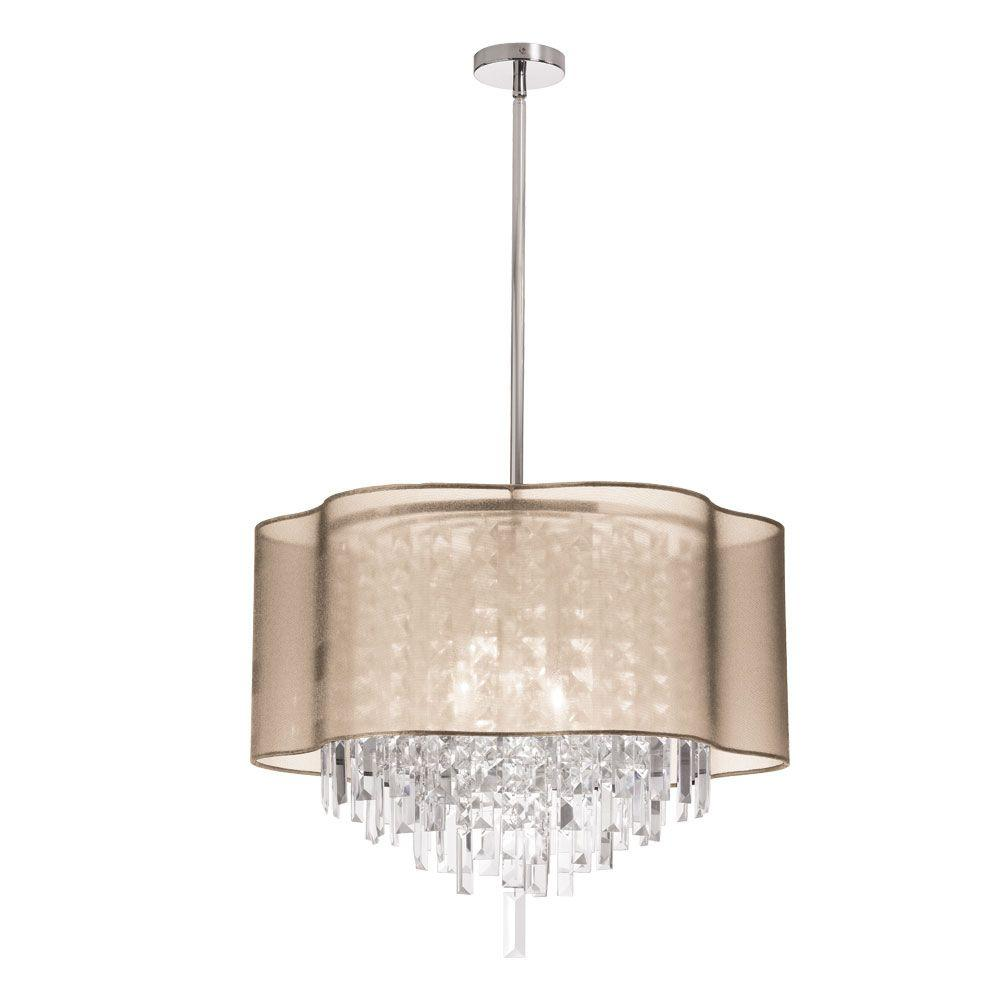 Radionic Hi Tech Illusion 6-Light Polished Chrome Crystal Pendant with Gold Laminated Organza Shade