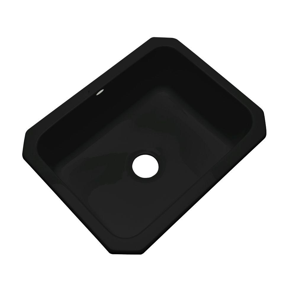 Inverness Undermount Acrylic 25 in. Single Basin Kitchen Sink in Black