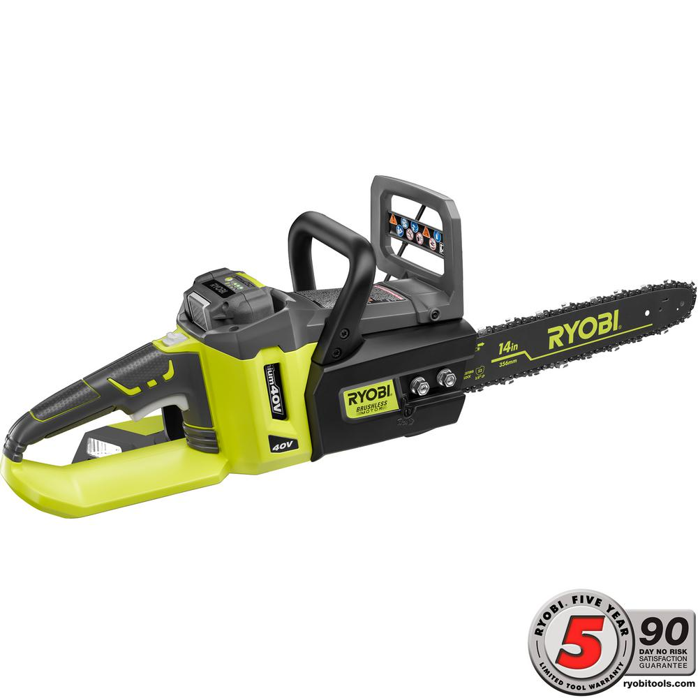 Ryobi 14 in. 40-Volt Lithium-Ion Brushless Cordless Chainsaw