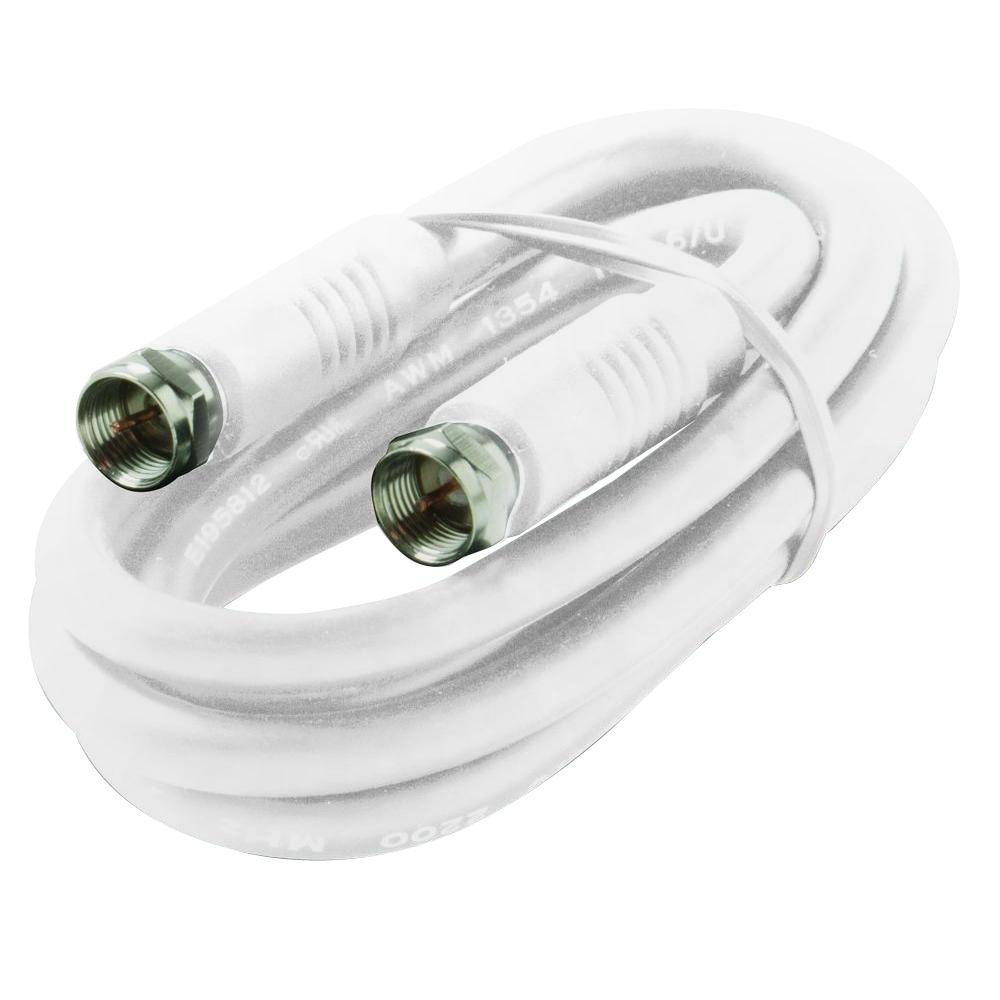 12 ft. F-F RG6/UL Coaxial Cable - White