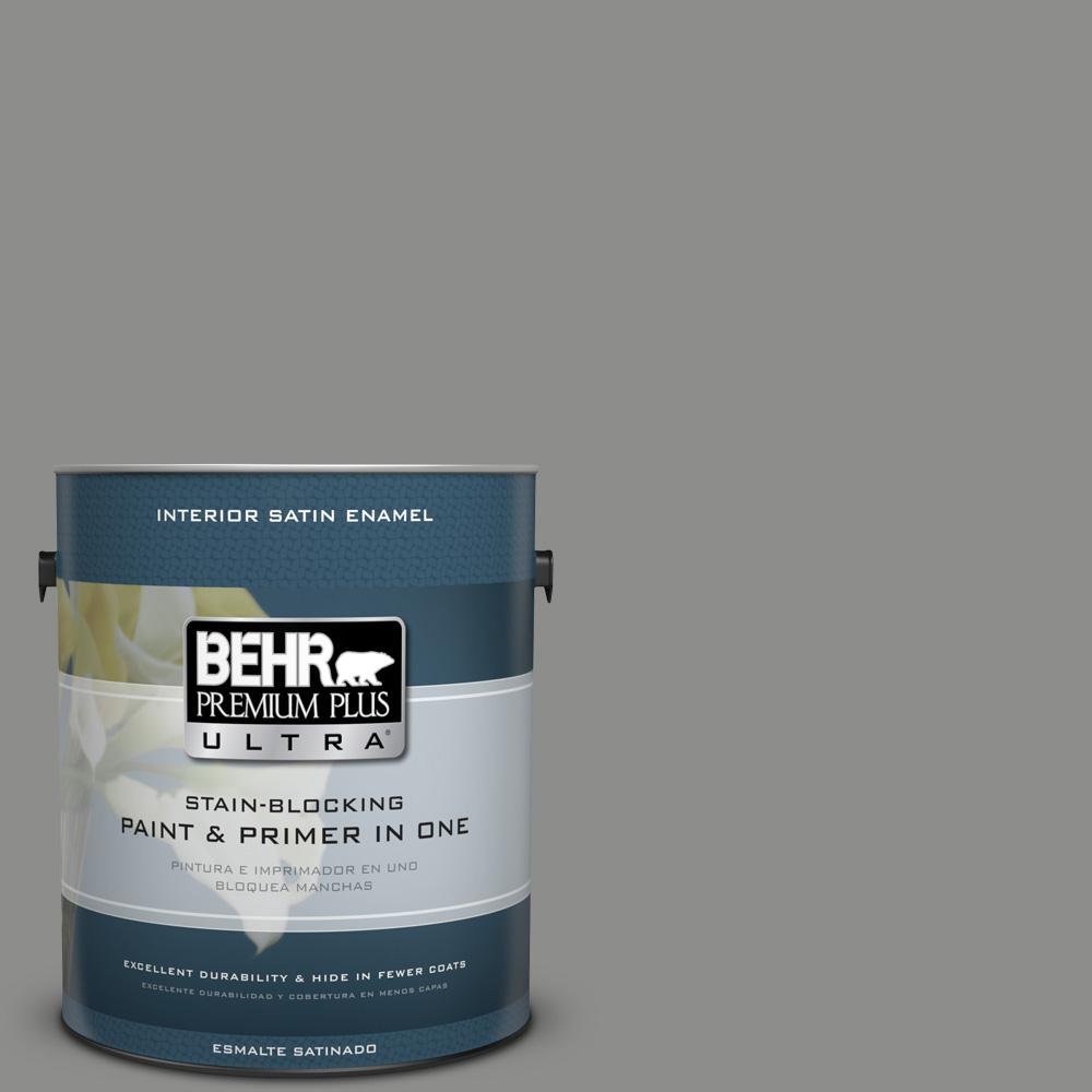 1 gal. #PPU24-20 Letter Gray Satin Enamel Interior Paint
