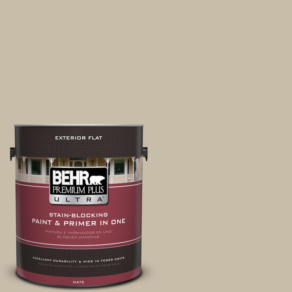 BEHR Premium Plus Ultra 1-gal. #ECC-64-1 Jungle Khaki Flat Exterior Paint-485401