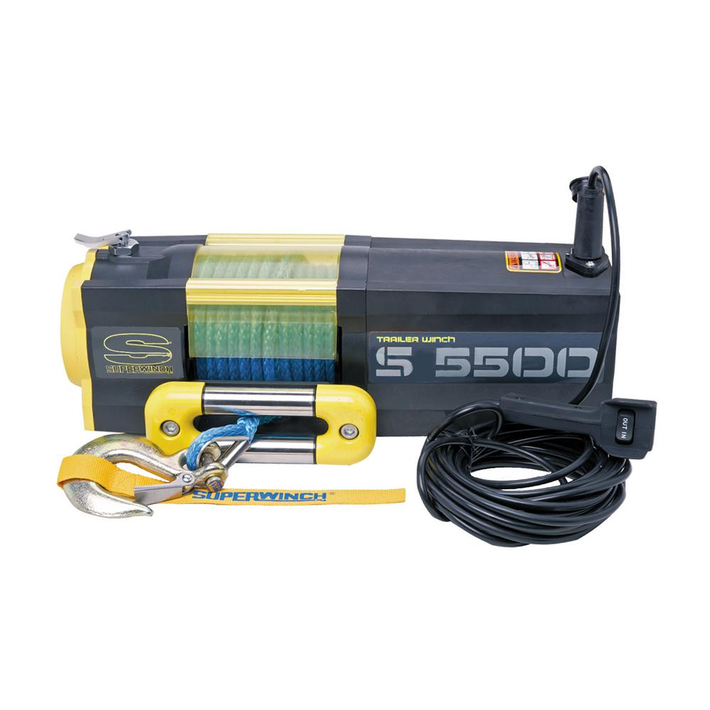 Superwinch S5500 SR, 12-Volt 5500 lbs. Winch with Synthetic Rope, Stainless