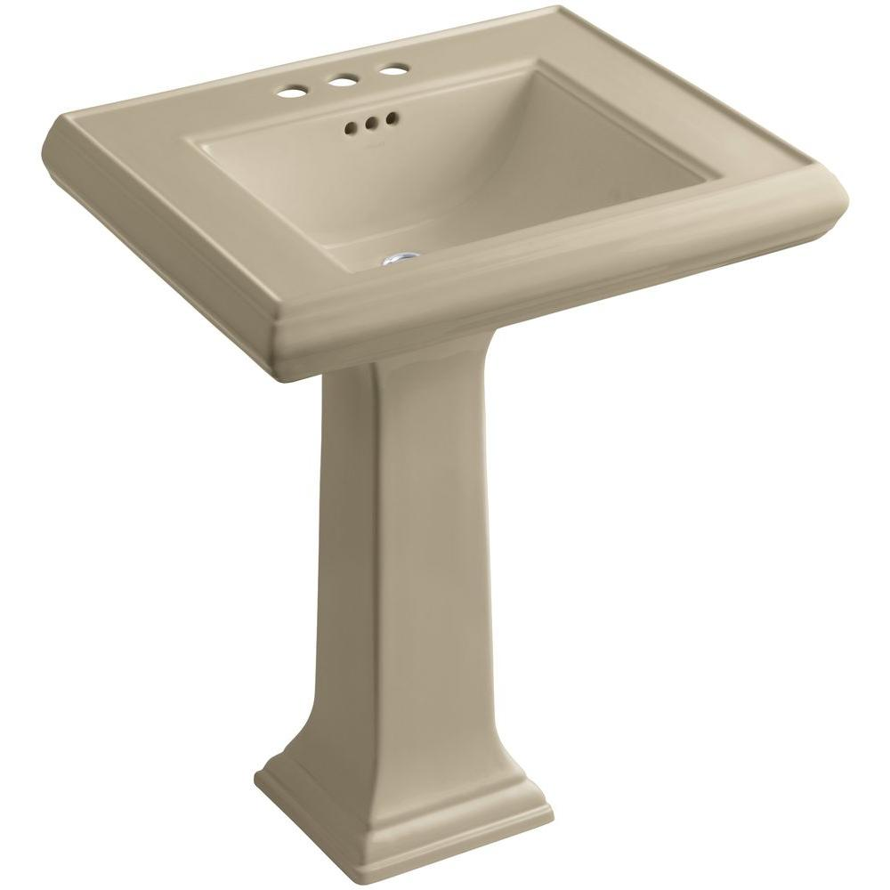 Memoirs Ceramic Pedestal Bathroom Sink in Mexican Sand with Overflow Drain