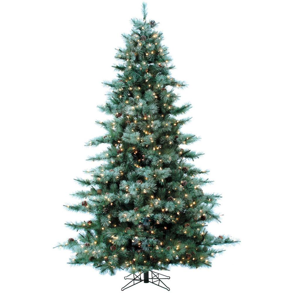 Artificial Christmas Tree With Pine Cones: Fraser Hill Farm 9 Ft. Pre-lit Glistening Pine Artificial