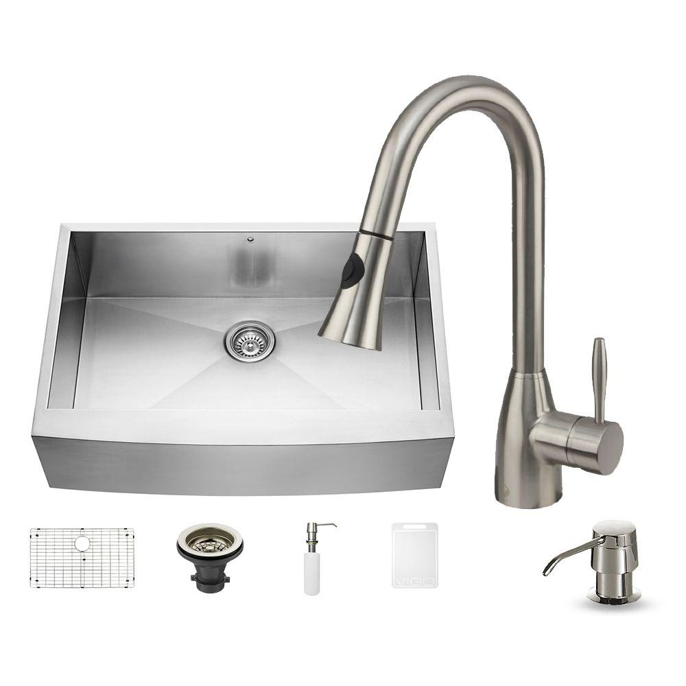 All-in-One Farmhouse Stainless Steel 33 in. Single Bowl Kitchen Sink in