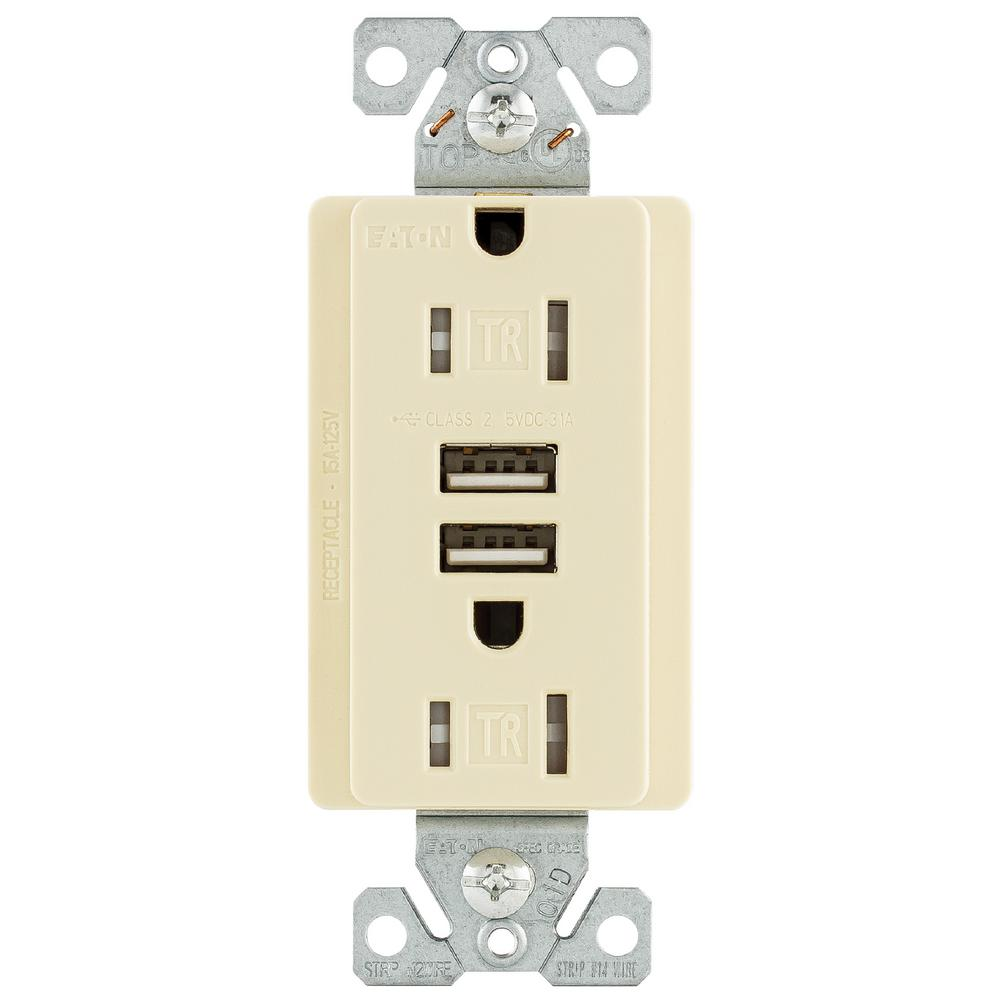 15 Amp 125-Volt Combination Outlet and 2 USB 3.1 Amp Charger
