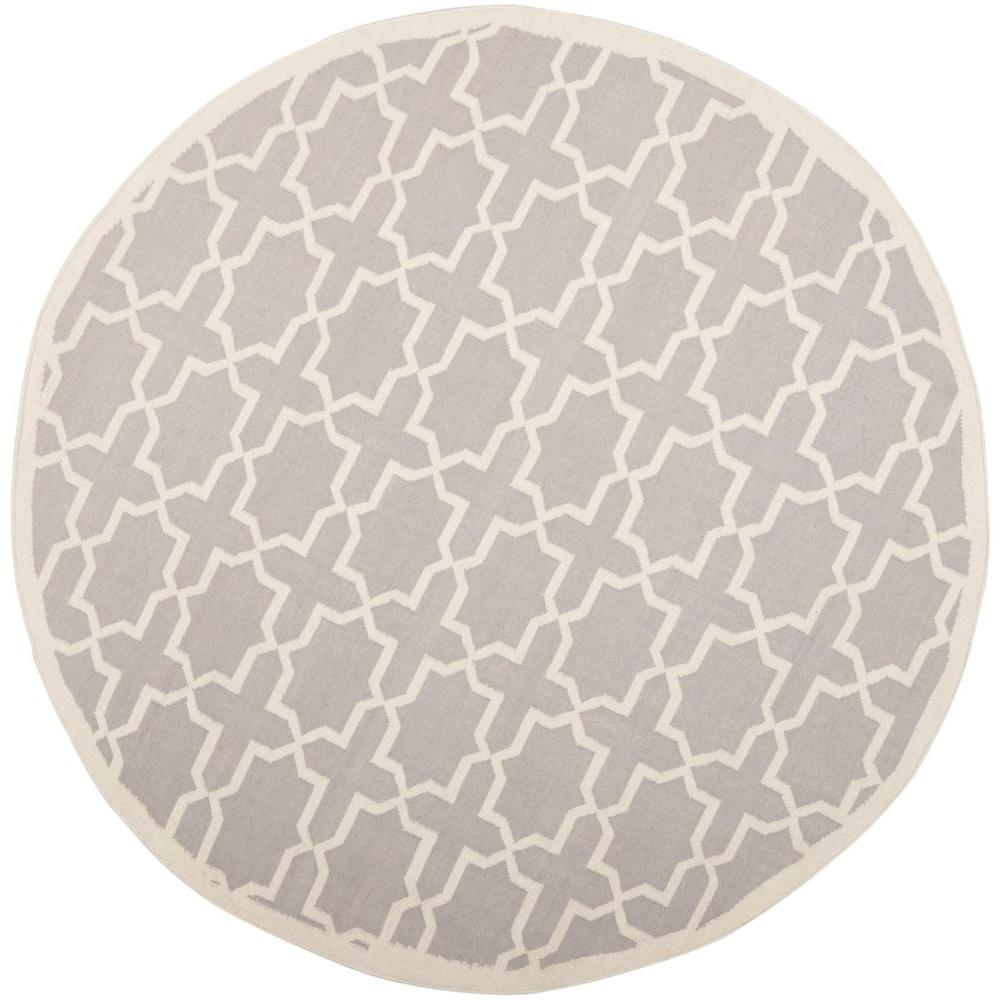 Safavieh Dhurries Grey/Ivory 8 ft. Round Area Rug-DHU549G-8R - The Home