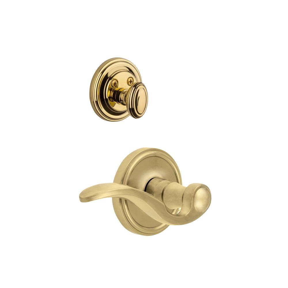 Grandeur Georgetown Single Cylinder Lifetime Brass Combo Pack Keyed Alike with Right Handed Bellagio Lever and Matching Deadbolt