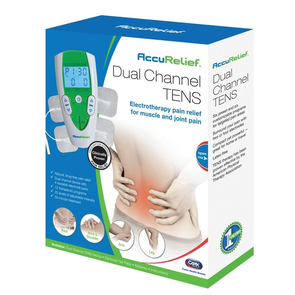 Carex Health Brands AccuRelief Dual Channel TENS Pain Relief System-ACRL-3000 -