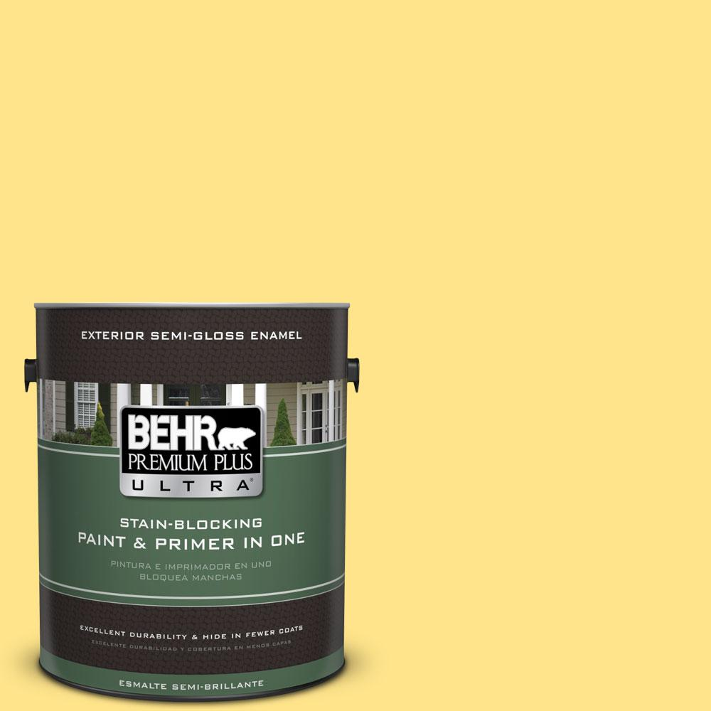 BEHR Premium Plus Ultra 1-gal. #370A-3 Bicycle Yellow Semi-Gloss Enamel Exterior