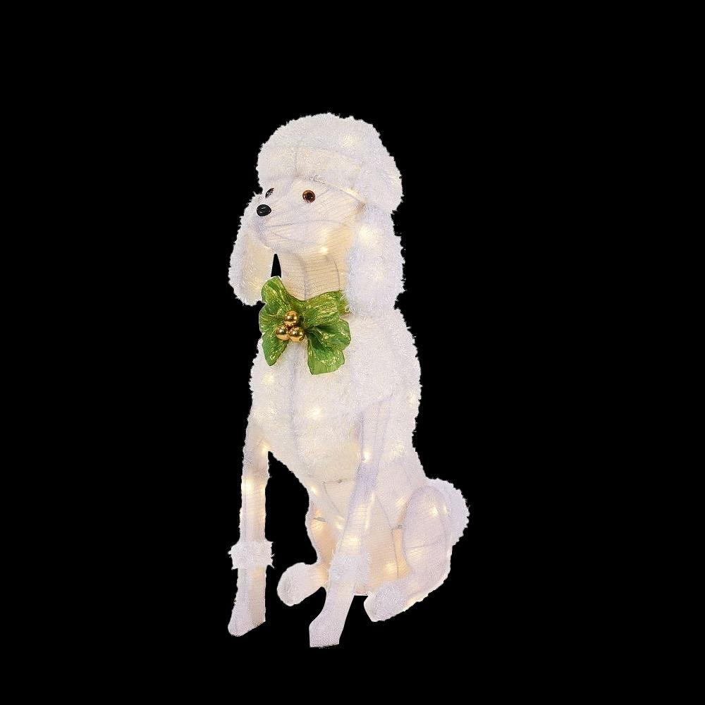 Home accents holiday 36 in led lighted sitting poodle ty758 1614 0 the home depot for Home depot christmas decorations for the yard